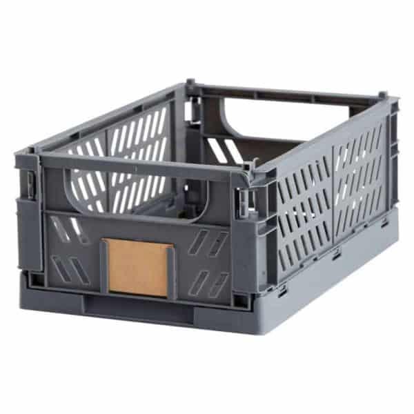 Opbevaringskasse foldbar 25x16,5x10 cm grå
